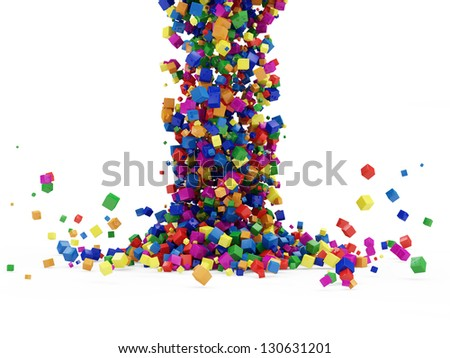 Abstract Illustration of Colorful Cubes Falling on white background