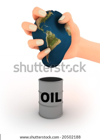 Abstract illustration of earth in the hand and oil barrel