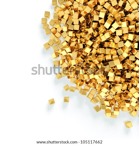 Abstract illustration of golden cubes heap on white background