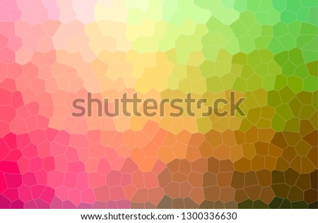Abstract illustration of green, orange, pink, red Little Hexagon background