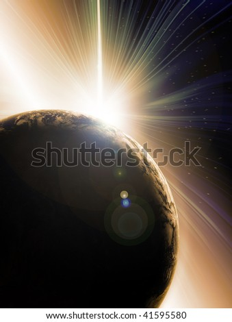 Abstract illustration of Solar eclipse behind planet earth seen from outer space. Earth image courtesy of Nasa