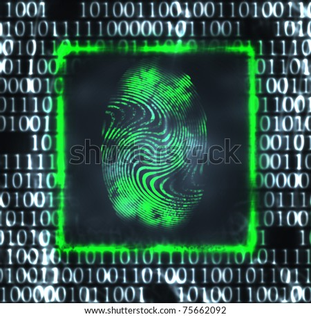 abstract illustration of the finger print and binary code