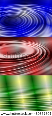 Abstract illustration of three colorful water ripples / Water ripples background
