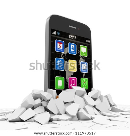 Abstract Illustration of Touchscreen Smartphone Breaking Through From Floor