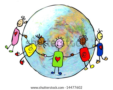 Abstract illustration of united happy  children dancing around the world in peace and freedom - stock photo