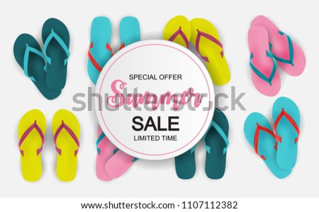 Abstract  Illustration Summer Sale Background.