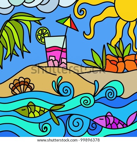 abstract illustration with island and cocktails