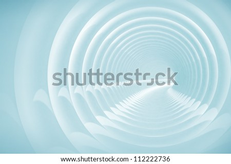 Abstract illustration with light blue bent spiral tunnel