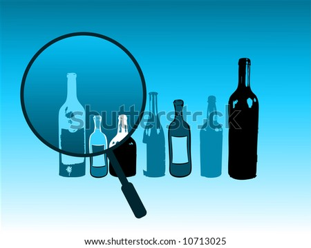 Abstract illustration with magnifying glass and bottles