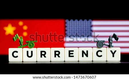 Abstract Illustrative Concept of Tariffs and Trade Wars between the USA and China with national flags in the background #1473670607