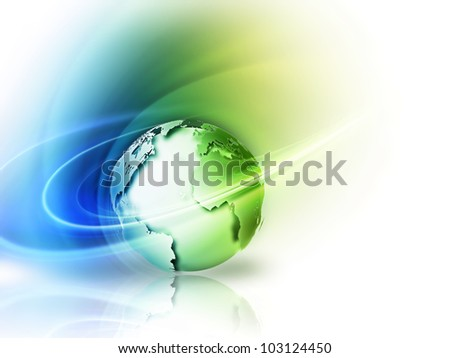 abstract image concept environmental with a green planet