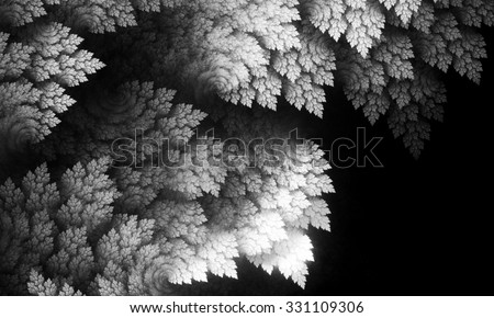 Abstract image.Fractal wallpaper on desktop. Digital artwork for creative graphic design.Fractal art.Psychedelic. Print for clothes, t-shirt. Black and white fractal. Decoration for poster, booklet.