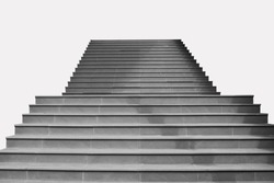 Abstract image : Front view architecture of concrete staircase isolated on grey background.