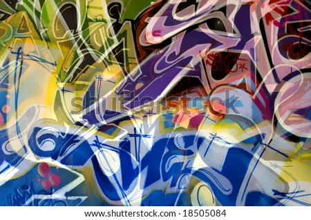 Abstract image made with mixed parts of different abandoned grafitti.
