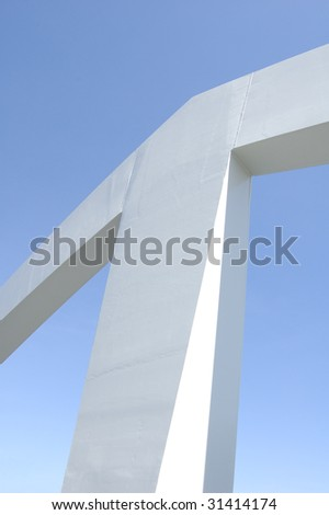 Abstract image of architectural feature on footbridge over the River Clyde in Glasgow, Scotland