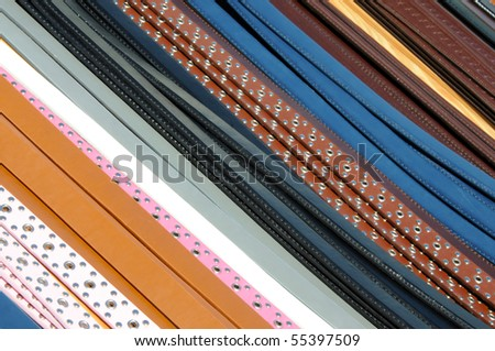 Abstract image of belts on a market stall