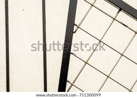 Abstract image of black steel and chrome section of staircase. Industrial staircase. Minimal abstract architectural detail. Abstract colors.