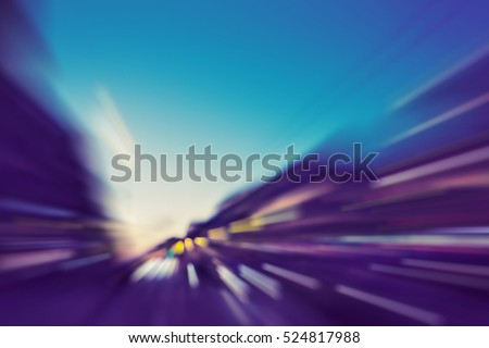 abstract image of blur motion of city road at night
