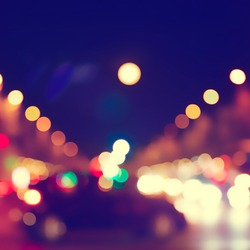 Abstract image of bokeh lights in the city.