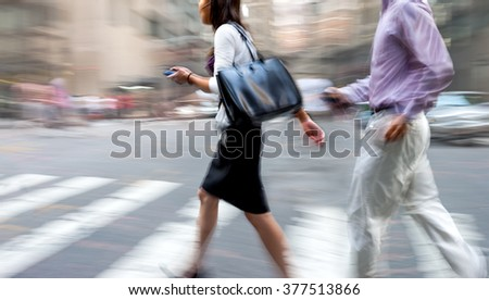 abstract image of business people in the street and modern style with a blurred background #377513866