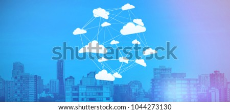 Abstract image of cloud computing symbol against trees amidst buildings in city #1044273130