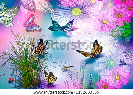 Abstract image of different butterflies on the background of flowers and plants. 3D rendering.