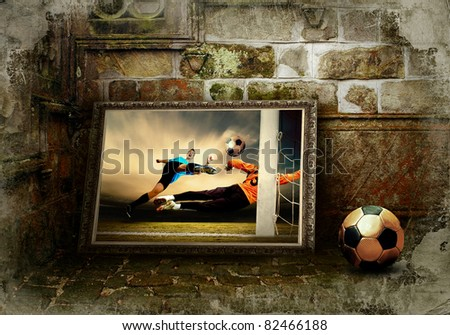 Abstract image of football player on the grunge background