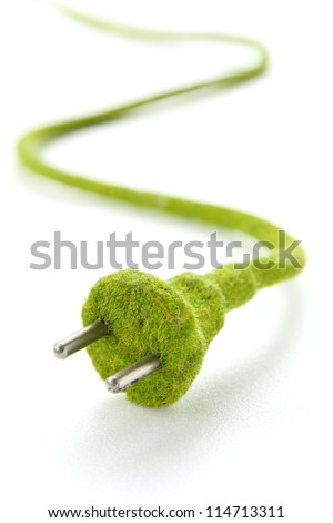 abstract image of green electric plug , save energy concept