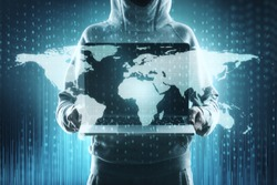 Abstract image of hacker with laptop and map. Global hacking and phishing concept. Double exposure