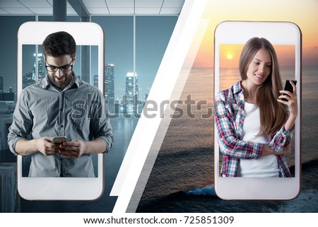 Abstract image of man and woman communicating through their cellphones. Connectivity concept