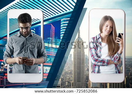 Abstract image of man and woman communicating through their smartphones. Communication concept