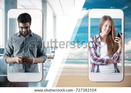 Abstract image of man and woman communicating through their smartphones. Connect concept