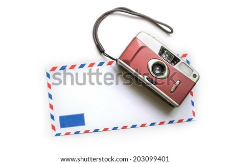 Stock Photo abstract image of Memory , film camera and envelope on white background