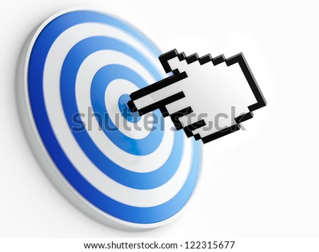 Abstract image of mouse pointer on bulls-eye. Symbol of right choice.