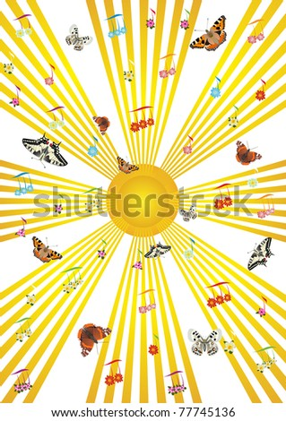 Abstract image of musical lines, which are musical signs and flying butterflies.