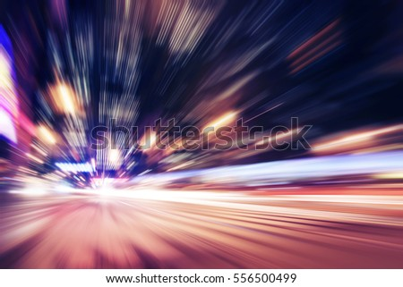 Abstract image of night traffic in the city. #556500499