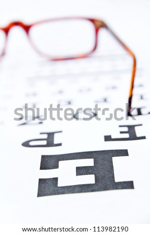 abstract  image of optometry concept, close up at eye chart