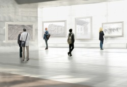 Abstract image of people in the hall of the exhibition hall