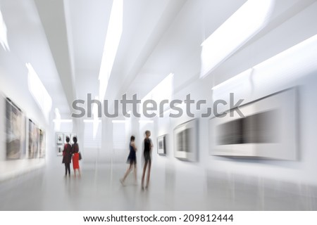 abstract image of people in the lobby of a modern art center with a blurred background