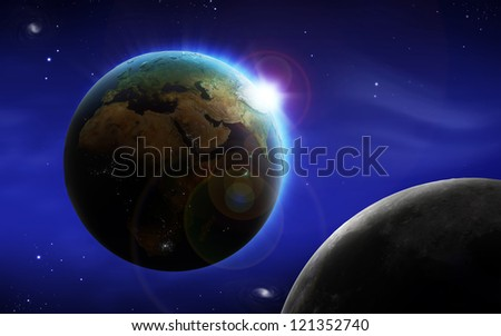 Abstract image of space background with Earth and Moon. Textures for Earth and Moon provided by NASA.