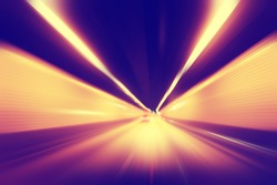 Abstract image of speed motion in tunnel at night.