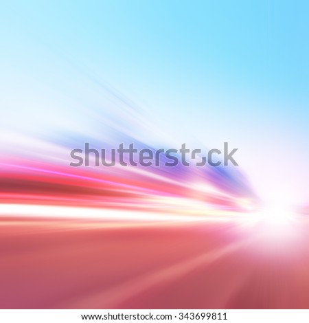 Abstract image of speed motion on the road. #343699811