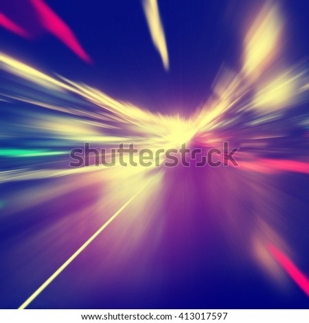 Abstract image of speed motion on the road. #413017597
