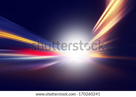 Abstract image of speed motion on the road at night time. #170260241