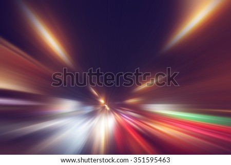 Abstract image of speed motion on the road at night time. #351595463