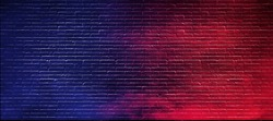 Abstract image of Studio dark room with lighting effect red and blue on black brick wall gradient background for interior decoration.