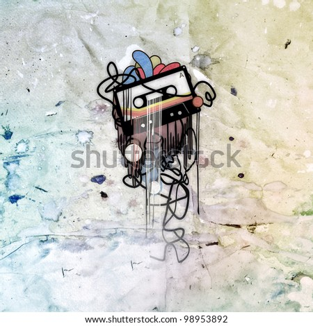 abstract image of the cassette, the textural background - stock photo