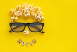 Abstract image of viewer, 3D glasses and popcorn,  text