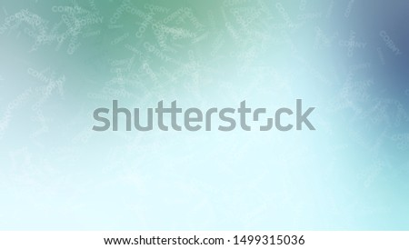 Abstract image with a randomly filled word CORNY on a background with Light Cyan, Pale Blue color. Template for banner or presentation. Сток-фото ©