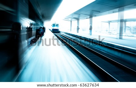 abstract image with station and passengers